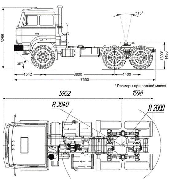 габаритные размеры Урал-44202-3511-80