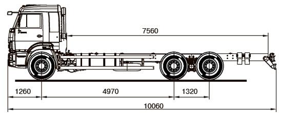 габаритные размеры нового КамАЗ-65117 (шасси)