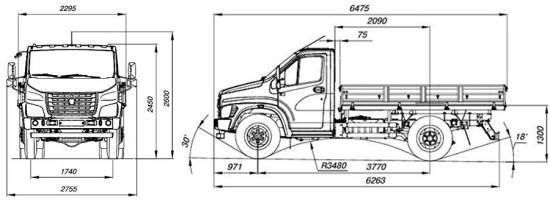 габаритные размеры ГАЗон-NEXT C41R11/C42R11