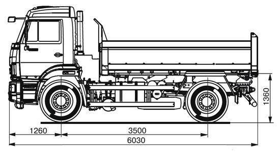 габаритные размеры обновленного самосвала КамАЗ-43255