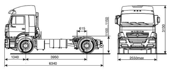 габаритные размеры КамАЗ-5460 (обновленный)