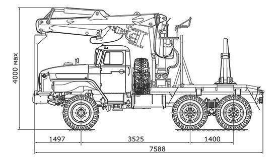 размеры лесовоза Урал-4320 с гидроманипулятором