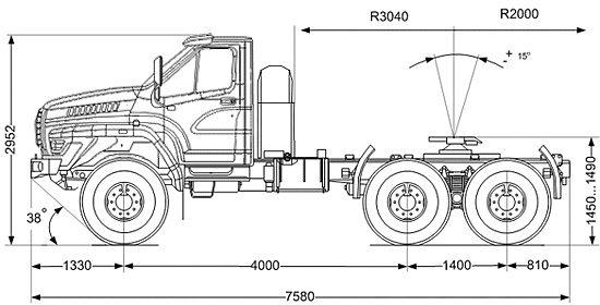 размеры седельного тягача УРАЛ 44202 NEXT