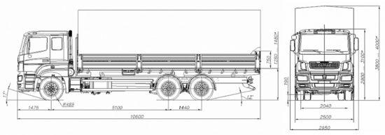размеры бортового КамАЗ-65207
