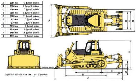 габаритные размеры Komatsu D155A-5