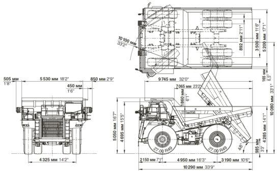 размеры Komatsu HD785-7