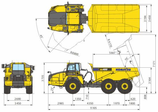 размеры Komatsu HM400-3M0