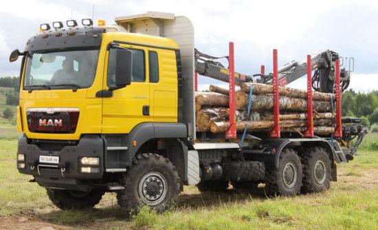 «внедорожный» лесовоз MAN TGS 6x6